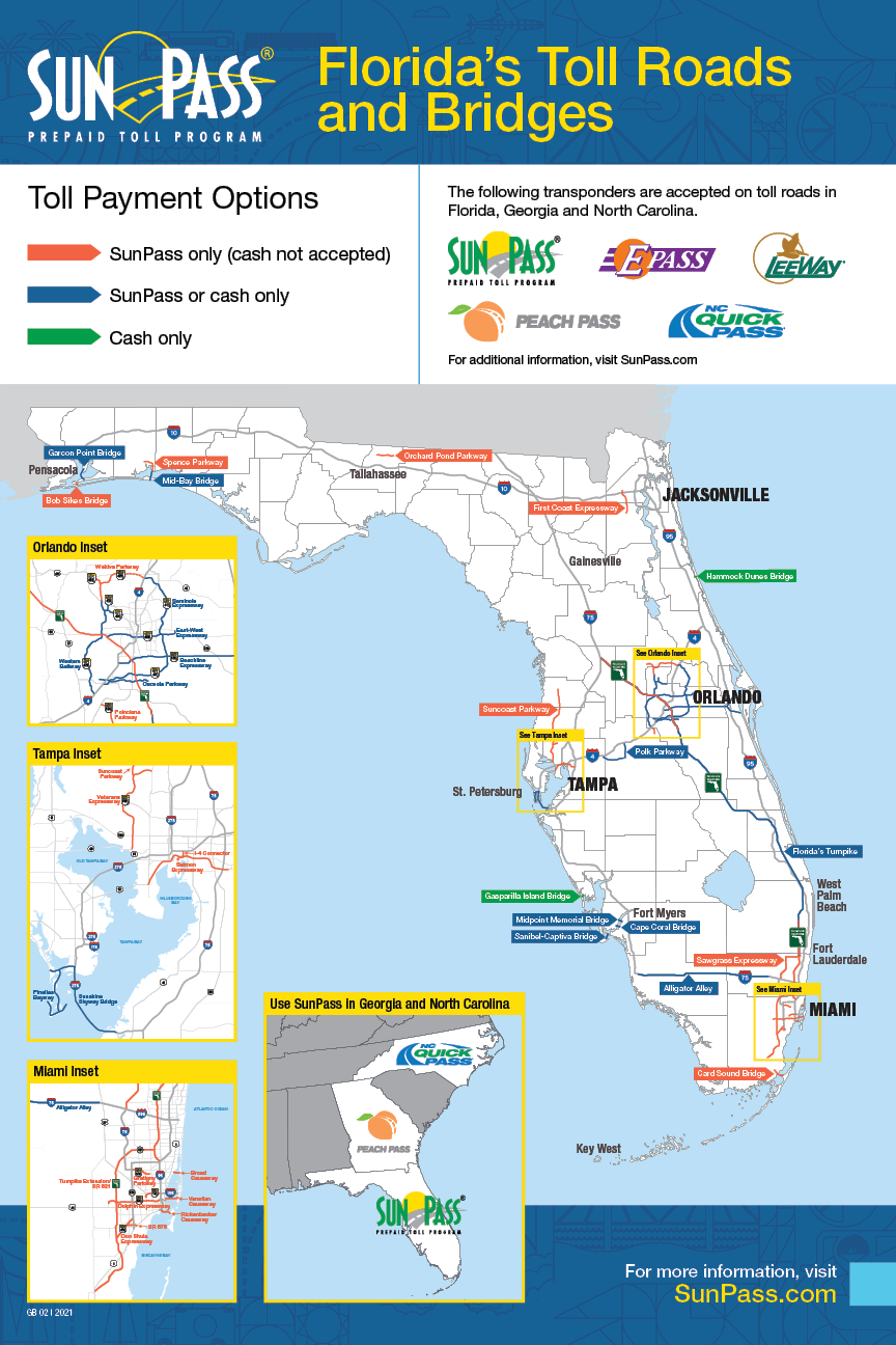 Florida Map With Highways.Sunpass Where To Use Sunpass